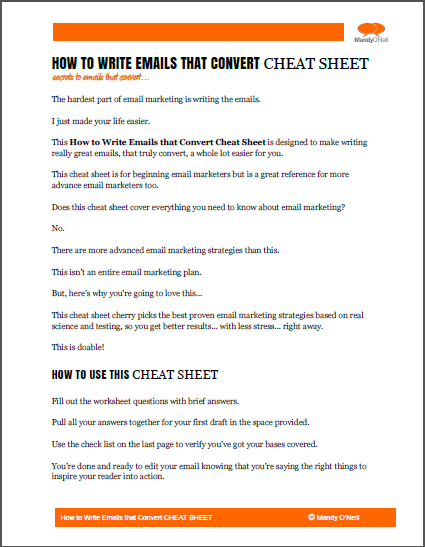 How to Write Emails that Convert Cheat Sheet